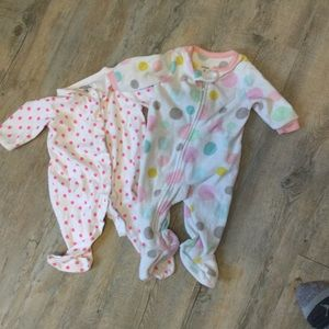Pair of two pyjama onesies Carters and 1 other